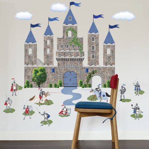 Large Medieval Castle Wall Decal With Knight Decals Removable Wall Stickers