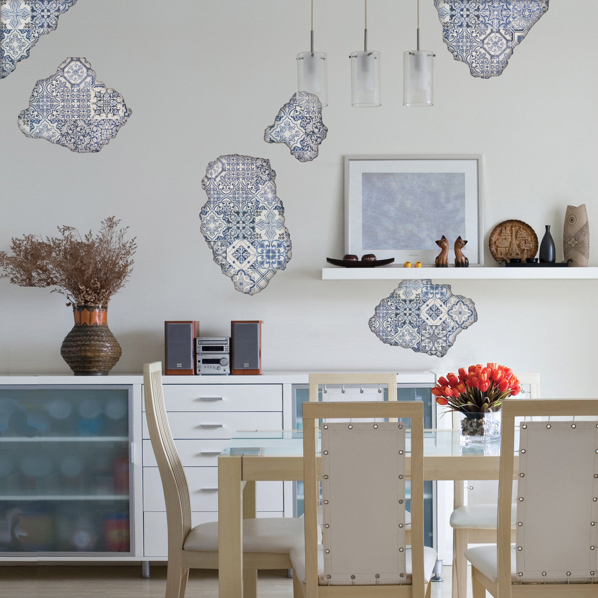 blue portuguese tile wall decals tile breakaway fabric blue portuguese tile wall decals tile breakaway fabric