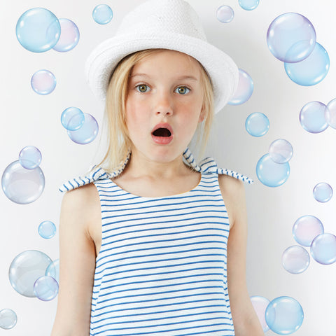 Bubble Wall Decals, Peel and Stick Eco-Friendly Removable and Reusable Fabric Wall Stickers