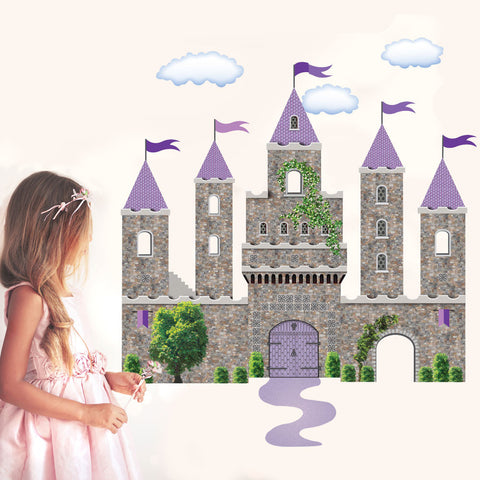Purple Fairytale Princess Stone Castle Wall Decals with Turrets and Flags - Wall Dressed Up - 1