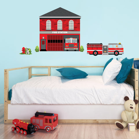 Large Fire Station Wall Decal Fire Engine, Firetruck Decals, Repositionable Peel and Stick Eco Friendly Wall Decals