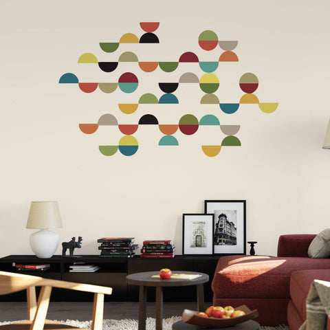 Mid Century Modern Semi Circle Wall Decals, Reusable Geometric Wall Stickers - Wall Dressed Up