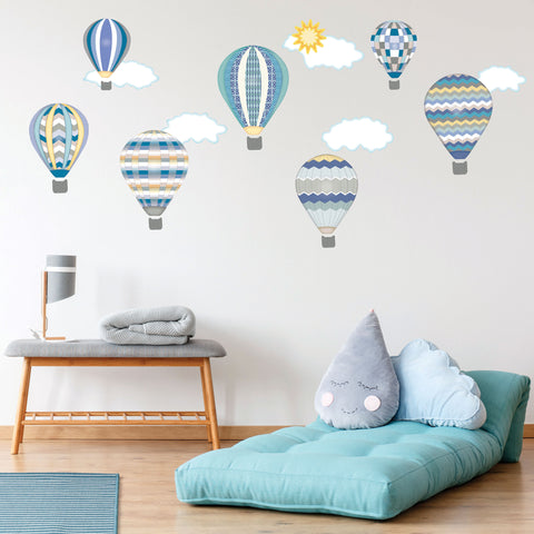 Hot Air Balloons & Cloud Wall Decals, Gender Neutral Wall Decals in Blues, Eco Friendly Removable Wall Stickers Col.5