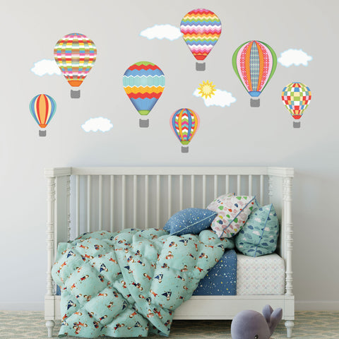 Hot Air Balloons & Cloud Wall Decals, Nursery Wall Decals, Balloon Wall Stickers, Col 4 - Wall Dressed Up