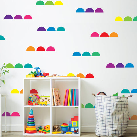 Modern Rainbow Brights Semi Circle Wall Decals, Kids Wall Decals Removable and Reusable Eco-friendly Geometric Wall Stickers