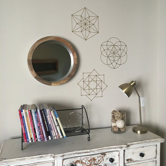 Metallic Wall Decals sacred geometry 3 wall decals metallic gold, silver, black or