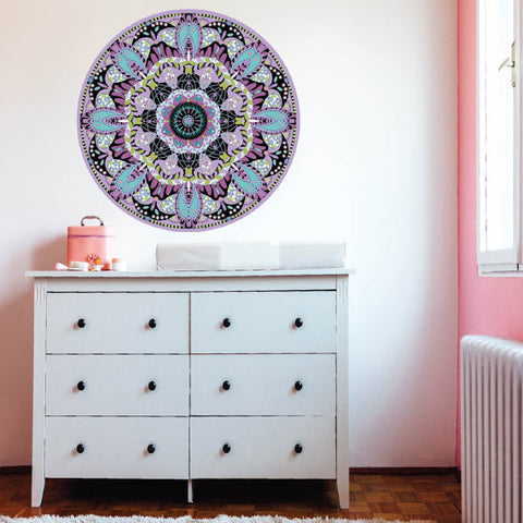 "Purple Teal Boho Mandala Fabric Wall Decal in 24"" or 36"" - Wall Dressed Up"