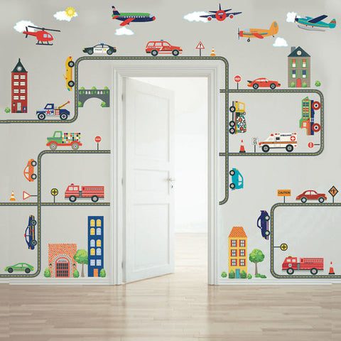 Busy Transportation Town Wall Decals, EMS, Cars, Trucks, Helicopter Airplanes plus Gray Road Curved & Straight - Wall Dressed Up - 1