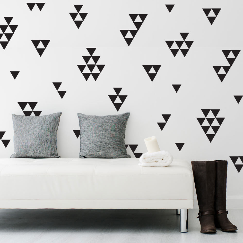 36 Large Black Triangle Vinyl Wall Decals