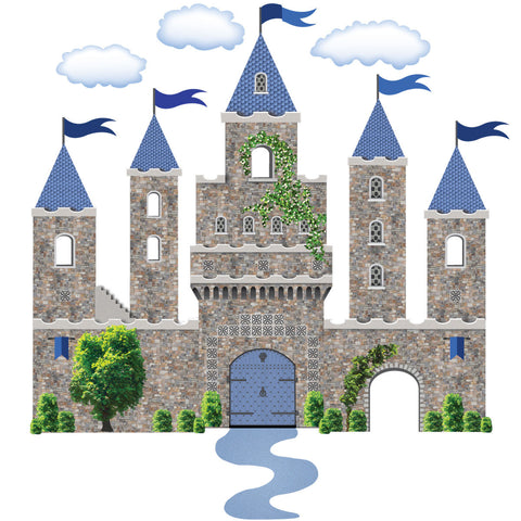 Stonewall Castle With Blue Turrets Flags Wall Decals