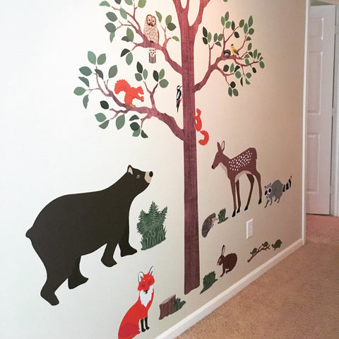 large woodland animals with tree wall decals, removable eco-friendly w