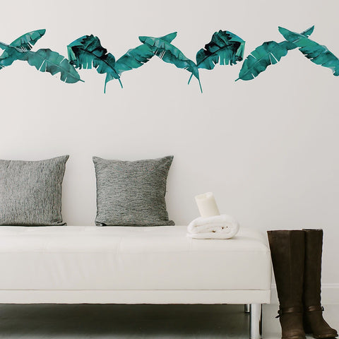 8 Medium Banana Leaves Blue Green Wall Decals, Eco Friendly Tropical Decals - Wall Dressed Up
