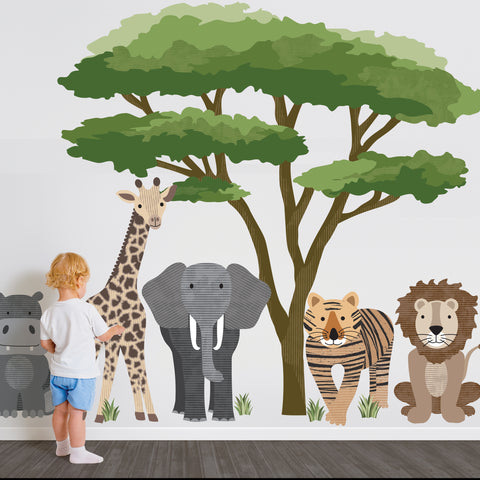 Large Safari Animal Wall Decals with Acacia Tree, Nursery Wall Decals, Jungle Wall Stickers, African Animal Wall Decals