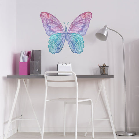 Large Watercolor Butterfly Wall Decal, Reusable Fabric Butterfly Wall Sticker