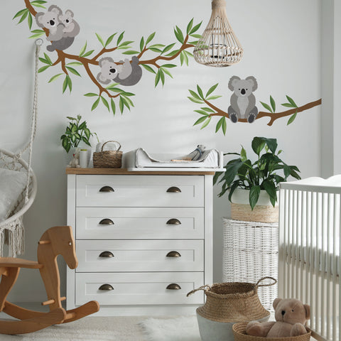 Large Koala Wall Stickers with Branch and Leaves, Koala Wall decals, Nursery Wall Decals, Animal Decals, Eco Friendly Wall Stickers