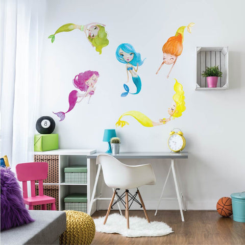 Playful Water Mermaids Fabric Wall Decals - Wall Dressed Up