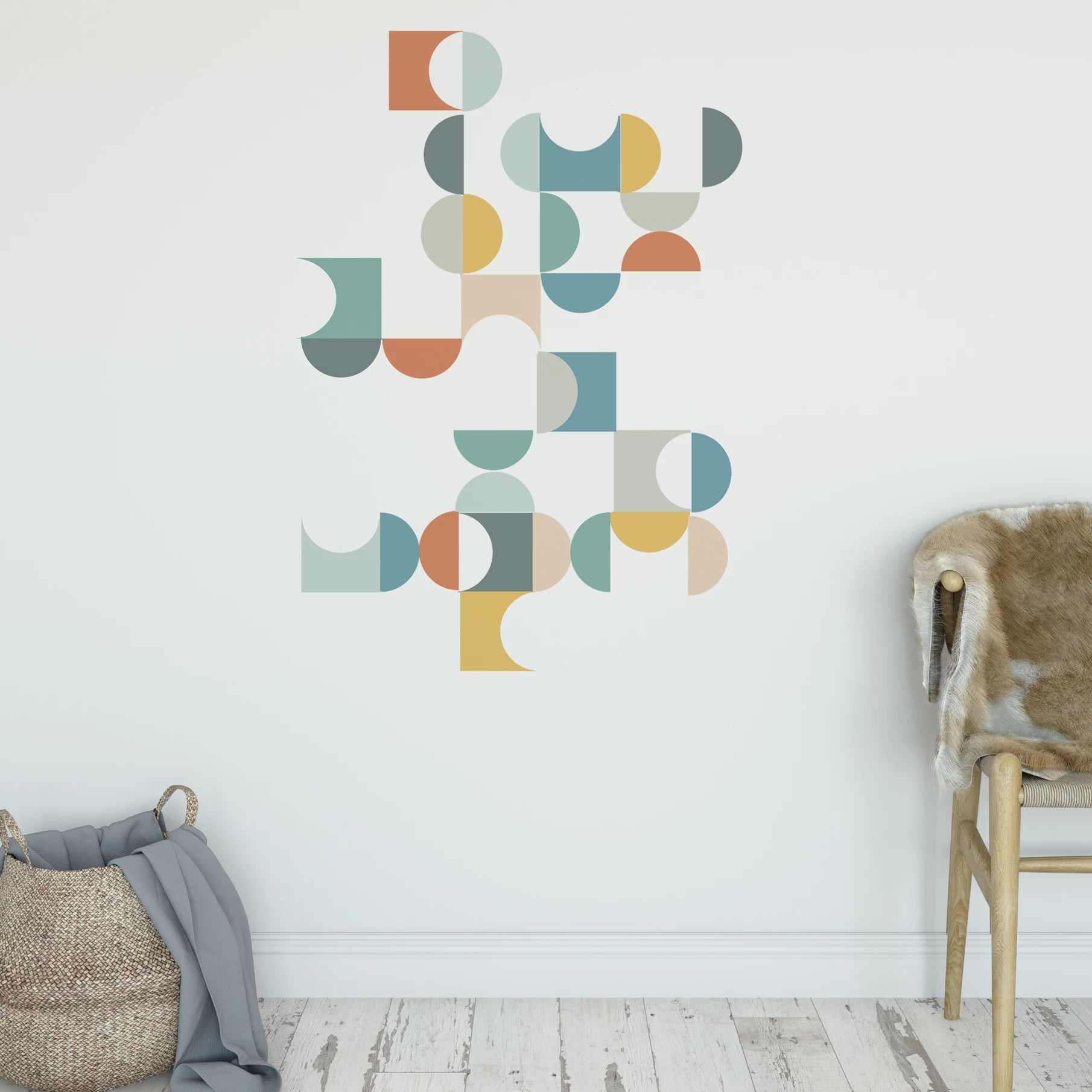Geometric Multicolor Mid Century Modern Wall Decals Removable Decals