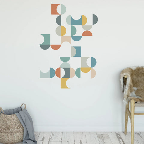 Geometric Multicolor Mid Century Modern Wall Decals, Removable Wall Stickers - Wall Dressed Up