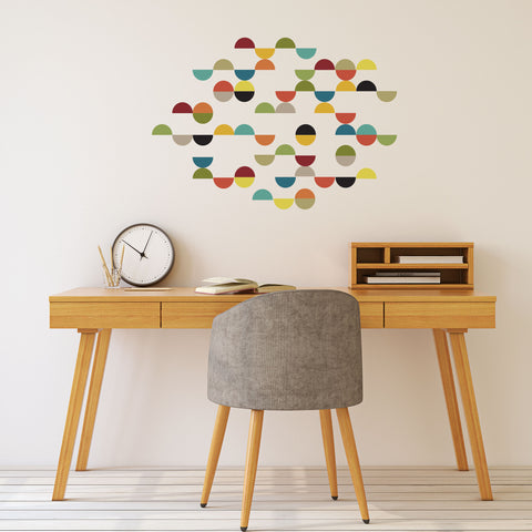 Mid Century Modern Smaller Size Semi Circle Wall Decals, Reusable Geometric Wall Stickers