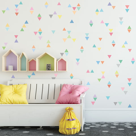 96 Mini Rainbow Pastel Triangle Wall Decals, Eco-Friendly Repositionable Fabric Wall Stickers