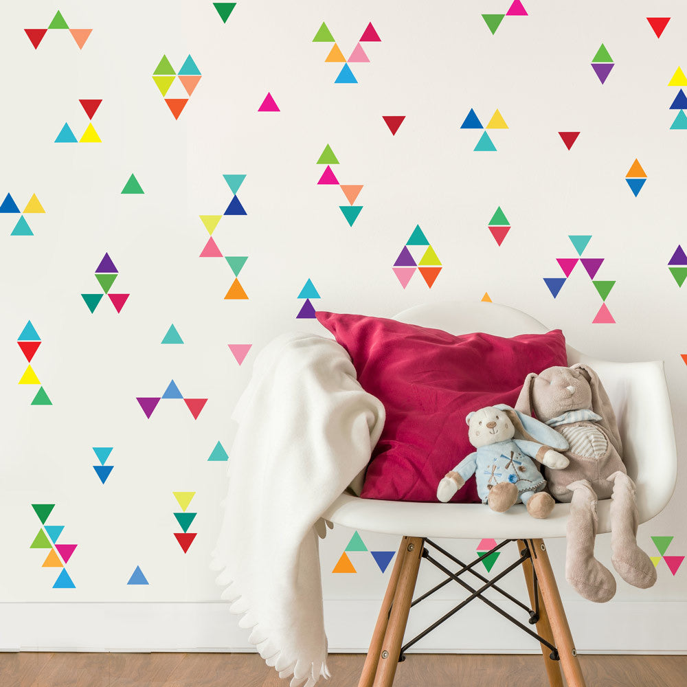 96 mini rainbow triangle wall decals eco friendly repositionable 96 mini rainbow of color triangle wall decals wall dressed up 2 amipublicfo Gallery