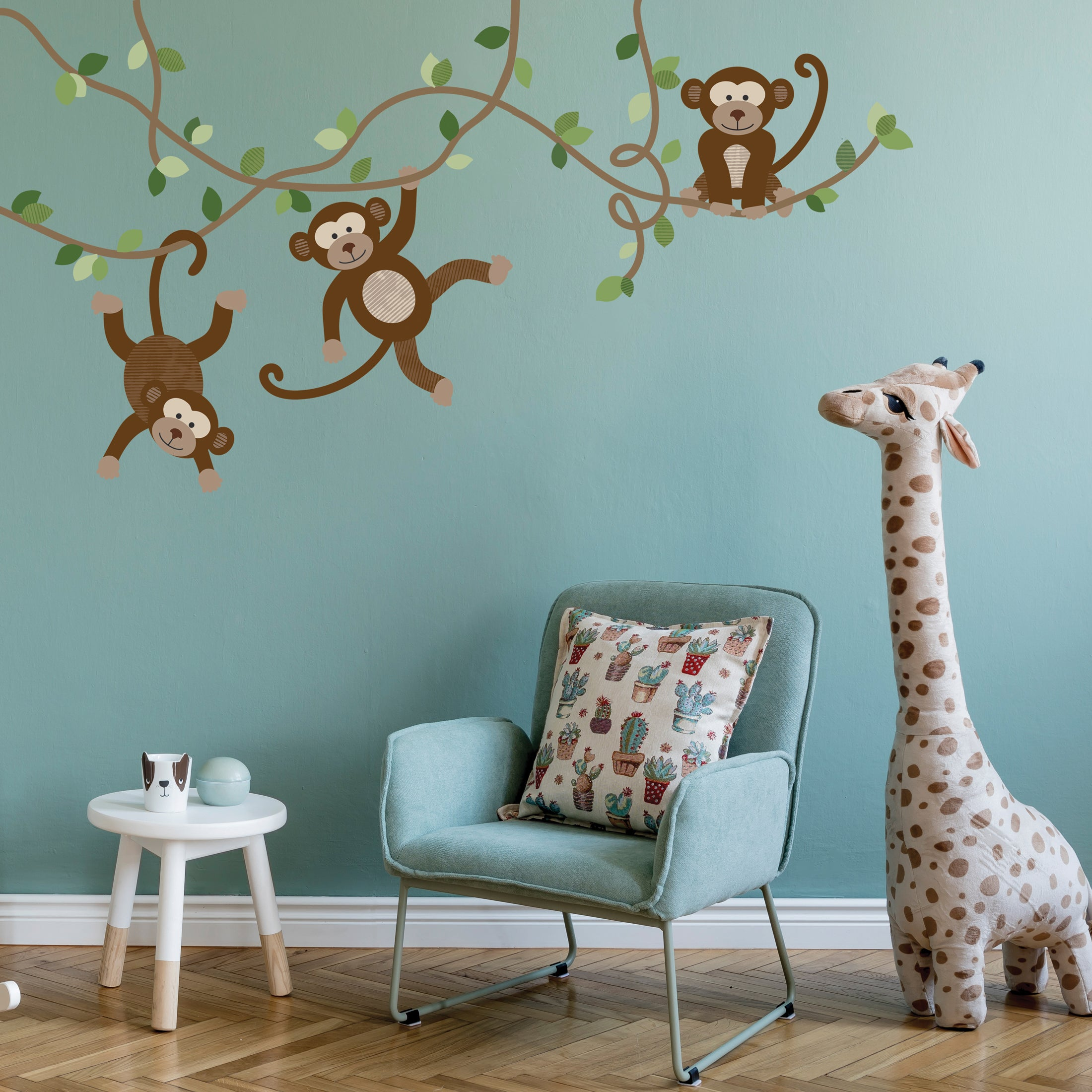 Monkey Decals Jungle Wall Stickers Nursery Wall Decals Repositionable
