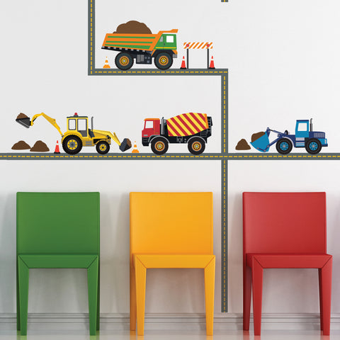 Multicolor Construction Wall Decals Four Construction Vehicles with Straight Road Decals, Removable Wall Stickers - Wall Dressed Up