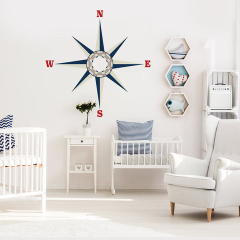 Large Nautical Compass Wall Decal - Wall Dressed Up - 1