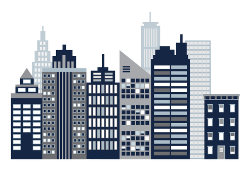 Cityscape Wall Decals, Navy, Gray and White City Skyline Fabric Wall Stickers - Wall Dressed Up