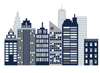 Cityscape Wall Decals, Navy, Gray and White City Skyline Fabric Wall Stickers
