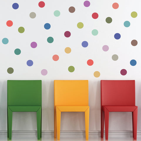 "Modern Multicolor 4"" Polka Dot Wall Decals, Removable and Reusable"