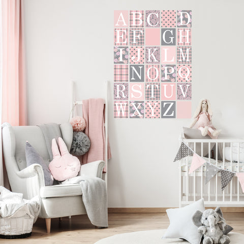 Gray and Millennial Pink Alphabet Block Wall Decals, Fabric Wall Stickers - Wall Dressed Up