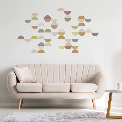 Mid Century Modern Semi Circle Wall Decals, Matte Fabric Removable and Reusable Eco-friendly Geometric Wall Stickers Col 2