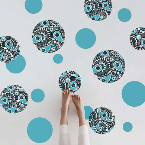 Large Turquoise, Black and White Paisley Dot Wall Decals, Matte Fabric Wall Stickers - Wall Dressed Up