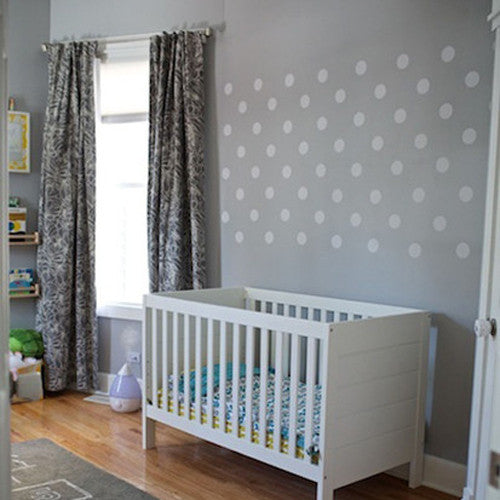 64 white polka dot wall decals, eco-friendly removable stickers