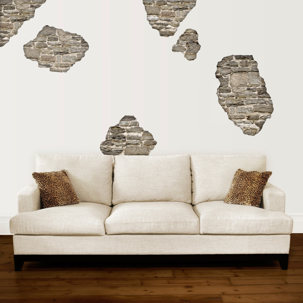 decorating decals wall dressed up rustic faux stone breakaway wall decals wall dressed up 1