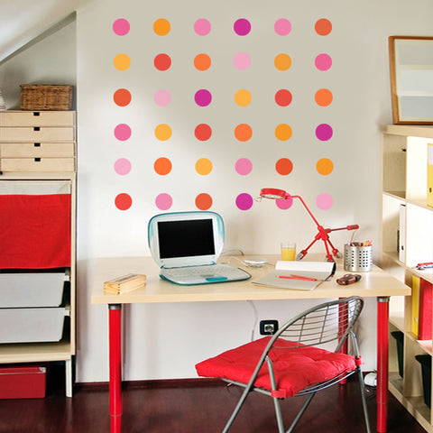 36 Pink, Fuchsia and Orange Confetti Dot Wall Decals - Wall Dressed Up