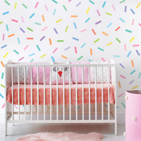 Pastel Rainbow Sprinkles Wall Stickers Confetti Wall Decals Sprinkle Wall Decals Rainbow Nursery Decals Eco Friendly Removable Wall Stickers - Wall Dressed Up