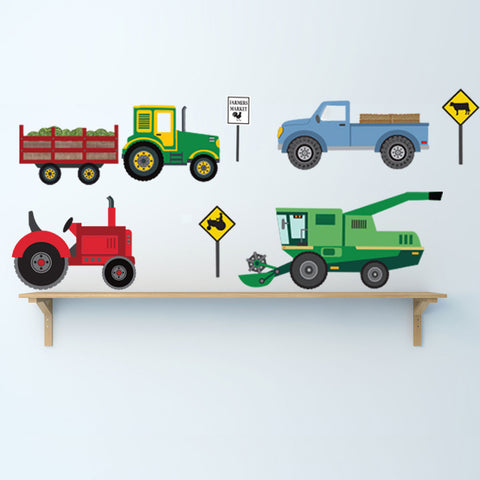 Four Farm Vehicle Wall Decals