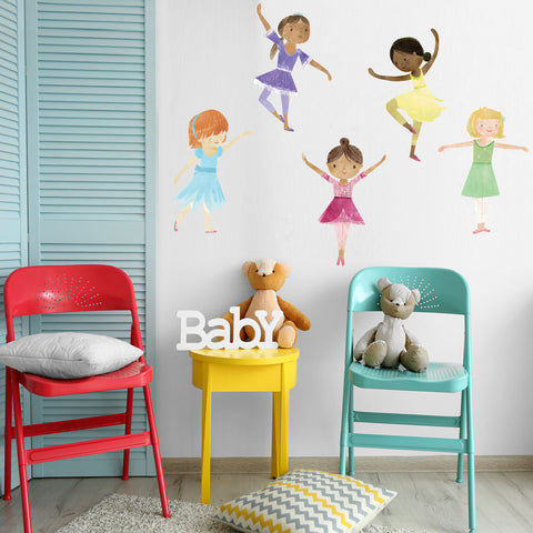 Dancing Ballerina Fabric Wall Decals, Removable and Reusable Eco-friendly Wall Stickers