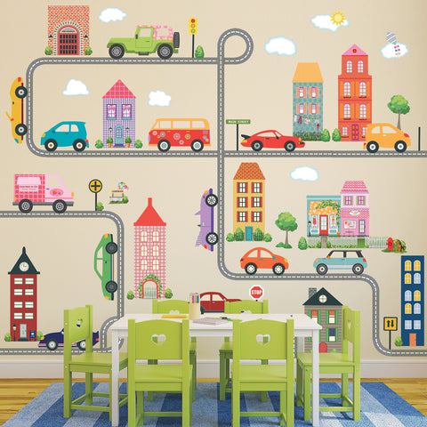Unisex Busy Town Decals, Girls and Boys Town Decals w/ Adventure Cars plus 30 ft Straight and Curved Gray & White Road Wall Stickers