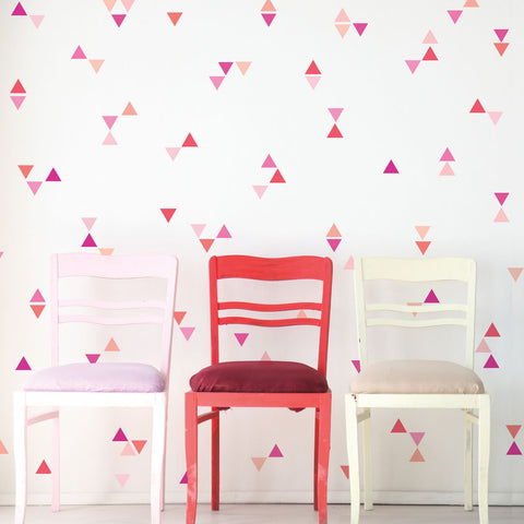 Mini Triangle Wall Decals, Ombre Millennial Pink Orange Matte Decals - Wall Dressed Up