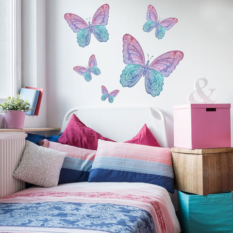 Five Watercolor Butterfly Fabric Wall Decals - Wall Dressed Up - 1