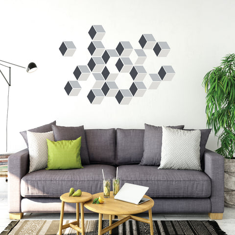 Modern Geometric Wall Decals, Optical Illusion in Grays