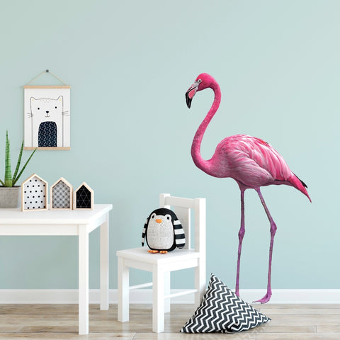 Pink Flamingo Wall Decal Matte Fabric Decal Tropical Flamingo Decal