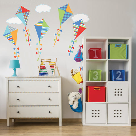 Wall Decals Kites Primary Colors with Clouds Eco-friendly Fabric Wall Stickers Colorway 2 - Wall Dressed Up