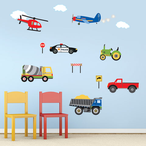Wall Decals Trucks, Tractor and EMS Vehicles, Airplane and Helicopter Decals, Primary Colors, Eco Friendly Wall Stickers
