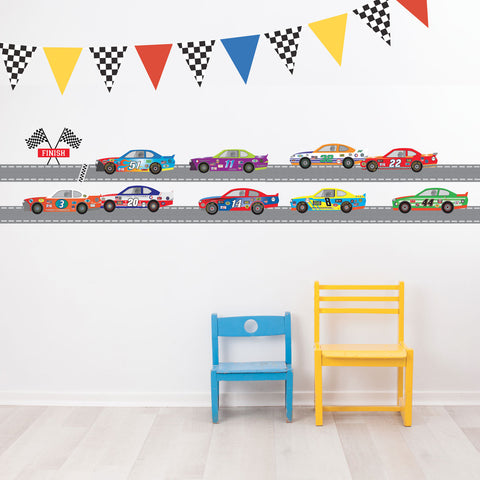 Race Car Wall Decals Straight Track 14ft, Checkered Racing Pennant Decals - Wall Dressed Up