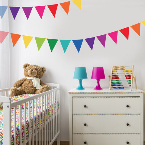 Rainbow Brights Fabric Bunting Flag Wall Decals, Eco-Friendly Reusable Wall Stickers