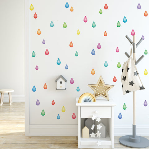 Rainbow Raindrop Wall Decals, Nursery Wall Decals, Multicolor Raindrop Decals - Wall Dressed Up